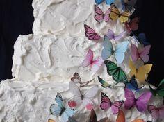 30 Edible Butterflies - All Sorts - Wedding Cake Topper - Wedding Cupcakes - edible paper supply, via Etsy. Butterfly Wedding Cake, Butterfly Birthday Party, Butterfly Cakes, Butterflies, Kids Birthday Themes, Birthday Parties, Birthday Cake Toppers, Wedding Cake Toppers, Birthday Cakes