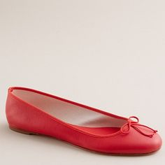 Classic leather ballet flats in poppy - J. CREW