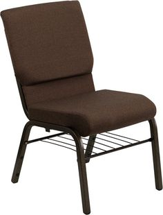 HERCULES Series 18.5'' Wide Brown Church Chair with 4.25'' Thick Seat Book Rack - Gold Vein Frame XU-CH-60096-BN-BAS-GG by Flash Furniture