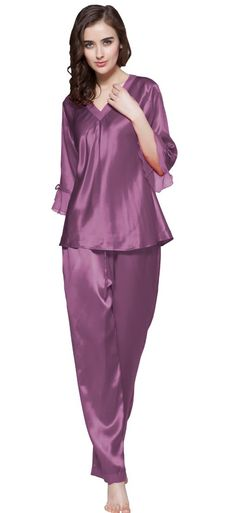 f23f80365a 2Pcs Women Laced Silk Pajama Set 100% Pure Silk 22 Momme By LilySilk - S  Violet