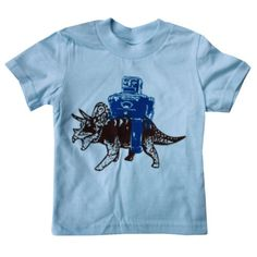 Happy Family Robot and Triceratops Dinosaur Light Blue Kids T Shirt (2t)