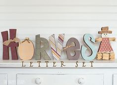 Cute #harvest letter set for fall decorating. #DIY this great mantle piece. #woodletters