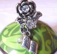 Antique Silver Rose Ring with Rhinestones Crystals Book Charm