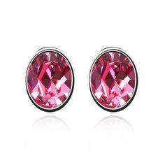 Fine Oval-shaped Austrian Crystal Ear Studs - Rose