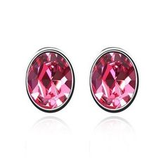 Fine Oval-shaped Austrian Crystal Ear Studs - Rose