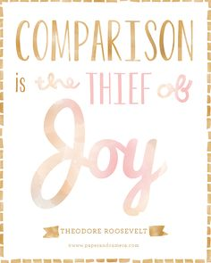 Comparison is the thief of joy. Good to remember when I am fighting the green monster that lives inside me. Great Quotes, Quotes To Live By, Me Quotes, Inspirational Quotes, Amazing Quotes, Qoutes, Motivational, Cool Words, Wise Words