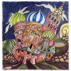 """St. Basils"" from Lizzie Mary Cullen's book, Magical City. Coloring was done with Tombow Brush Markers and Intense blocks"
