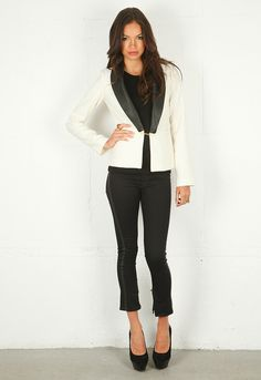 Sandra Weil Katherine Blazer with Leather Flap#Repin By:Pinterest++ for iPad#