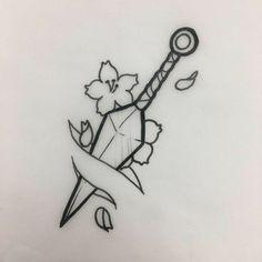 Pencil Art Drawings, Cool Art Drawings, Art Drawings Sketches, Tattoo Sketches, Tattoo Drawings, Tattoos To Draw, Sword Drawings, Small Drawings, Drawing Ideas