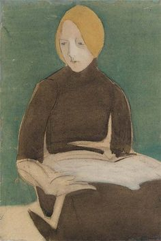 untitled picture by Helene Schjerfbeck (1862 -1946), Finnish painter-most widely known for her realist works and self-portraits but at the turn of the century she became a modernist. Her work has been compared to that of artists such as James McNeill Whistler and Edvard Munch, but from 1905 her paintings took on a character that was hers alone. She continued experimenting with various techniques, e.g., different types of underpaintings. (wiki) - (campsis)