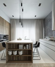 monochromatic wood kitchen