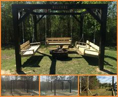 Isn't this a great place to hangout with friends and family. Take a tour of this DIY fire pit swing set by viewing the full album at http://theownerbuildernetwork.co/pczg What would you do differently in this outdoor space?