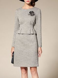 Gray Crew Neck Ruched Two Piece Elegant Midi Dress