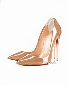 "Christian Louboutin So Kate Nude Patent Pump by LauraFungArt - More illustrations LINE BOTWIN ""girly illustrations"""