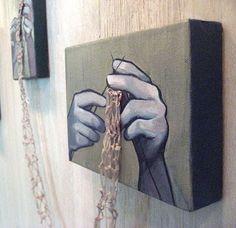Really interesting knitting wall art