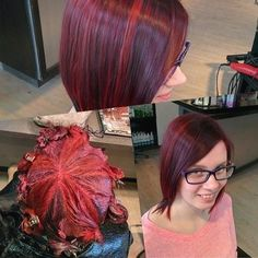Some fun haircolour for a cool client that always keeps me on my toes! Alternating formulas schwarzkopf professional igora royal 4- intense violet & 6- intense red with 3%.... Hair Color For Women, Cool Hair Color, Igora Hair Color, Hair Color Placement, Vidal Sassoon Hair Color, Hair Color Formulas, Professional Hair Color, Hair Color Techniques, Braids For Short Hair