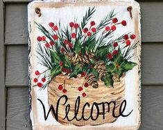 Painted Slates Door Decor Welcome Signs Deck by LindaSpangArt