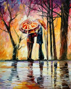 "Original Recreation Oil Painting on Canvas   Title: Rainy Date Size: 24"" x 30""  Condition: Excellent Brand new Gallery Estimated Value: $3,500 Type: Original Recreation Oil Painting on Canvas by Palette Knife  This is a recreation of a piece which was already sold.  The recreation is 10..."