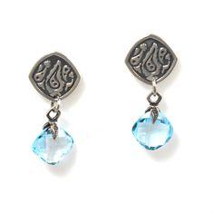 Silver Earrings With Blue Topaz Cushion Cut Drops