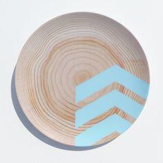 Modern Wood Simple Chevron 10\  Melamine Plate Caribbean Blue & Modern Wood Simple Chevron 10\