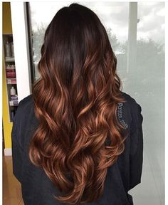 23 Balayage long curly hair color # Nice Women's Hair Styles 23 Balayage long … Chocolate Brown Hair Color, Hair Color Caramel, Brown Ombre Hair, Chocolate Hair, Auburn Ombre Hair, Dark Caramel Hair, Deep Auburn Hair, Honey Caramel, Colored Curly Hair