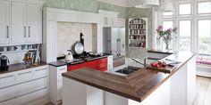 Walnut Breakfast bard with mitred corner Kitchen Paint, Kitchen Design, Walnut Worktops, Reclaimed Kitchen, Belfast Sink, Freestanding Kitchen, Bespoke Kitchens, Mitered Corners, Wide Plank