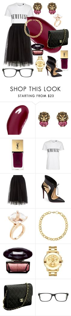 """""""Leo"""" by tammy-stacey ❤ liked on Polyvore featuring Chantecaille, Gucci, Yves Saint Laurent, Tee and Cake, Christian Louboutin, Goshwara, Laundry by Shelli Segal, Versace, Movado and Chanel"""