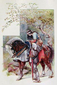 La Belle Dame Sans Merci by Frank Cheyne Papé Art And Illustration, Book Illustrations, English Artists, Horse Art, Fantasy Art, Book Art, Fairy Tales, Sketches, Drawings
