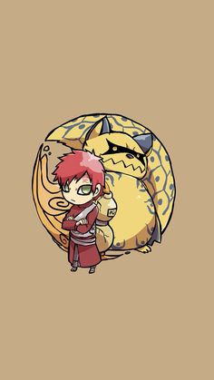 Gaara and Shukaku the Ichibi - Tap image for more Cute Jinchūriki Bijuu Naruto Shippuden Characters Wallpapers Collection - Wallpaper for iPhone 5/5s/5c, iPhone 6/6 Plus @mobile9 #anime #manga