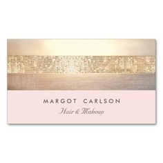 Elegant Gold Sequins Light Pink Striped *NO SHINE Business Card Template. This great business card design is available for customization. All text style, colors, sizes can be modified to fit your need (Free Business Card Design) Fashion Business Cards, Beauty Business Cards, Gold Business Card, Elegant Business Cards, Free Business Cards, Custom Business Cards, Business Card Design, Free Business Card Templates, Hairstylist Business Cards