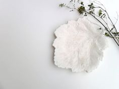 leaf plate creamy off white beige accent piece vintage. $12.00, via Etsy.