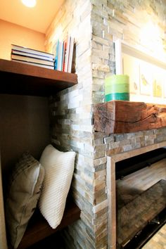 Mountain culture inspired living room, fireplace design by TVL Creative.