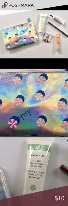 """💜💜IPSY MAKEUP BEAUTY BUNDLE💜💜 Brand new!  IPSY holographic beach umbrella theme makeup bag and 5 treats.  Products included are: REN evercalm day cream moisturizer, Pur correcting face primer, Ofra lip liner in """"Maya"""", Palmetto Derma rejuvenating facial mask, The Balm Company matte eye shadow in plum color.  All products are trial/sample size. Ipsy Makeup"""