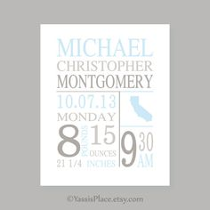 Baby boy nursery wall art Birth Stats print Baby by YassisPlace, $18.00