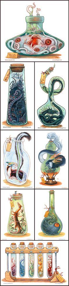 Bottled Creatures by Emma Lazauski je ne suis pas pour la mise en bouteille de qui que ce soit mais ces créatures sont merveilleuses ! Qui sait seront-elles libérées un jour ?