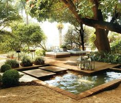 Extraordinary Outdoor Deck Design With White Bed Pillow Trees Pond Candle Hardwood Floor And Garden Decor Outdoor Rooms, Outdoor Gardens, Outdoor Living, Small Gardens, Outdoor Beds, Outdoor Decor, Deck Design, Landscape Design, Modern Garden Design