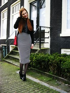 Outfit | Dotted midi pencil skirt, leather laser cut crop top, tailcoat, red bag and patent heels | Fashion & personal style blogger from Amsterdam, The Netherlands | More on www.redsonjafashion.com