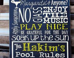 Personalized Family Swimming Pool Rules Sign on Wood with Distressed Look