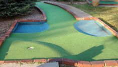 Can use blue carpet for simulated water in a backyard mini golf course.