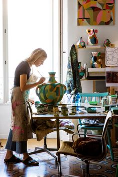 Swedish Fashion Illustrator Liselotte Watkins Turns To Pottery For Her Latest Creations - The colorful new pieces are Picasso-esque Swedish Fashion, Picasso, Ceramic Studio, Pottery Studio, Ceramic Artists, Art Studios, Artist At Work, House Tours, Vogue Australia