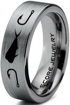 Meteorite Wedding Band, Tungsten Carbide Wedding Bands, Engagement Ring Settings, Engagement Rings, Silver Wedding Bands, Mahi Mahi, Fish Hook, Ring Designs, Hooks