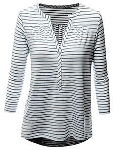 Doublju Women 3/4 Sleeve Casual Stretch Span Stripe Henley Shirts