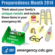 Prepare for your family's special medical needs. Include medication, medical equipment and baby supplies you may need in your emergency kit.