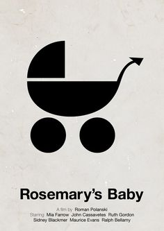 Viktor Hertz is a Swedish designer who made these pictogram movie posters. He's taken an idea from the film and made minimalistic pictogram movie posters out Films Cinema, Cinema Posters, Film Posters, Retro Posters, Roman Polansky, Rosemaries Baby, Poster Minimalista, Baby Posters, Mia Farrow