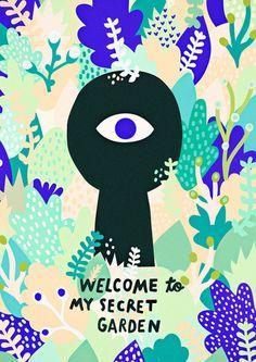 Secret Garden poster // FREE SHIPPING WORLDWIDE - Michelle Carlslund Illustration