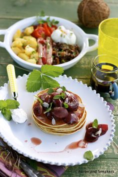 Apron and Sneakers - Cooking & Traveling in Italy: Savory & Sweet Breakfast: Ricotta & Almond Pancakes with Caramelized Grapes in Port & Balsamic Vinegar and A Plate of Sautéed Savory Breakfast