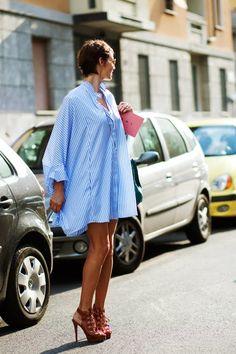On the Street….Big Shirt Dress, Milan « The Sartorialist