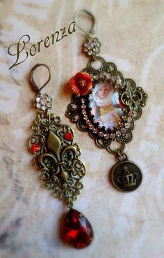 Boucles retro filigrane rouge Vierge à l'enfant  par lorenza33