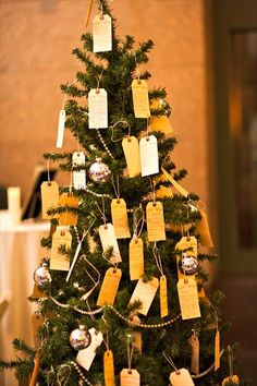 Christmas wedding wish tree. I want to do this and have everyone either bring an ornament that they feel represents us and sign it and we would have ornaments there for folks to sign and then hang on our tree at the wedding. so every year when we decorate we will remember everyone at our wedding.