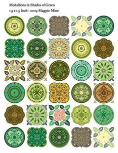 Medallones en descansadas tonos verdes de la primavera. 1,5 pulgadas círculos y cuadrados. Uso para ACEOs, arte alterado, reducidas para tapas de botellas, collages, tarjetas, álbumes de recortes, lo que sea! El archivo es de alta resolución (300 puntos por pulgada, la resolución óptima